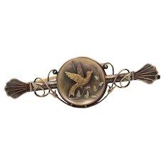 Victorian 14K Gold Swallow Bird Bar Pin, Antique Anniversary Gift Brooch