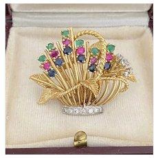 Vintage 18K Gold Tutti Frutti Style Diamond, Emerald, Ruby, and Sapphire Flower Basket Brooch, Pin