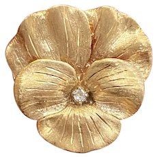 Vintage 14K Gold and Diamond Pansy Flower Pin, Brooch