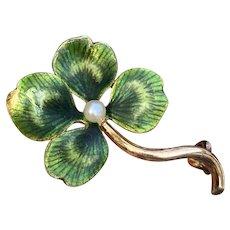 Art Nouveau 14K Gold, Enamel Four Leaf Clover Pin, Antique Shamrock Brooch