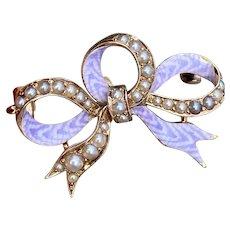 Art Nouveau 14K Gold Lilac Enamel, Split Pearl Ribbon Bow Pin, Antique Brooch
