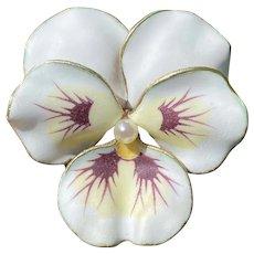 Art Nouveau 14K Gold, White Enamel Pansy Brooch, Antique A.J. Hedges Pin