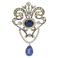 Belle Epoque Edwardian GIA 9 Ct Sapphire 5 Ct Diamond Garland Brooch Pendant