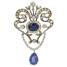Belle Epoque Edwardian GIA 9 Ct Sapphire 5 Ct Diamond Garland Brooch Pendant