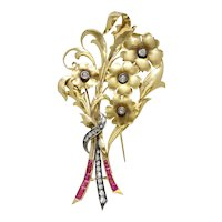 Vintage Retro Era Bouquet of Flowers 18K Gold Ruby and Diamond Brooch