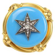 Victorian Turquoise Enamel and Diamond Star 22K Gold Brooch Pin