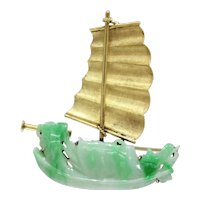 Vintage Carved Jadeite Jade and 14K Gold Ship Maritime Brooch