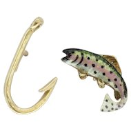 Tiffany & Co Pair of 14K Gold Rainbow Trout and Fish Hook Tie Tack Pins
