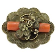 Victorian Vine of Grapes and Natural Coral 18K Gold Pendant Brooch