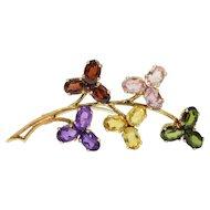 Vintage 18K Gold Multicolor Gemstone Floral Branch Brooch Garnet Amethyst