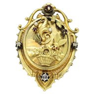 Victorian 12K Gold Fly and Bouquet of Flowers Memorial Pendant Brooch
