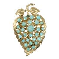 Vintage Natural Turquoise Heart Shaped Leaf Flower 14K Gold Brooch Pendant
