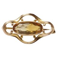 Simple Art Nouveau Natural Citrine 14K Gold Curved Lines Brooch Pin