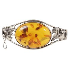 Art Nouveau Style Natural Baltic Amber Sterling Silver Ivy Bangle Bracelet