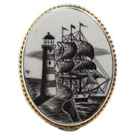 Vintage Carved Painted Ship and Lighthouse on Bone 14K Gold Pendant Brooch Pin