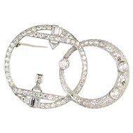 Art Deco Platinum Filigree Double Circle 2 Carats Diamond Brooch Pin