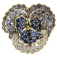 Vintage Jean Vitau 18K Gold 4 Carats Diamond 15 Carats Sapphire Pansy Brooch Pendant