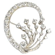 Midcentury 4.25 Carats Diamond 14K Gold Circle Spray Brooch Pin