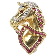 14K Gold, Ruby, and Diamond Horse Equestrian Brooch Pendant