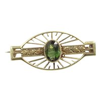 Small Antique Natural Green Tourmaline and 18K Yellow Gold Pin