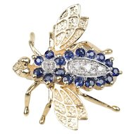 Vintage Diamond and Sapphire 14K Gold Bumble Bee Brooch Pin