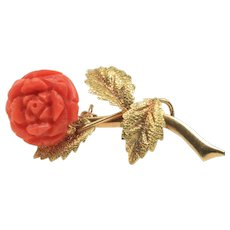 Vintage Carved Natural Coral Rose and 18K Gold Brooch Pin