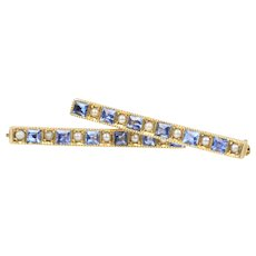 Antique Set of 14K Gold Pearl and Synthetic Sapphire Lingerie Clips