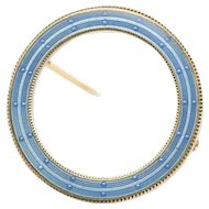 Edwardian Era Blue Enamel 14K Gold Antique Circle Pin Brooch
