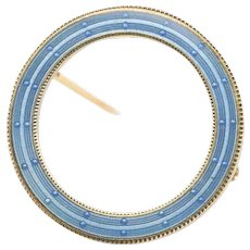 Edwardian Era Blue Enamel 14K Gold Antique Circle Pin Brooch
