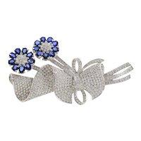 Large 9.5 Carat Diamond and 4.5 Carat Sapphire 18K Gold Tremblant Flower Bouquet Pin