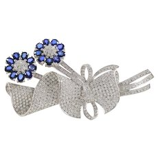 Large 9.5 Carat Diamond and 4.5 Carat Sapphire 18K Gold Tremblant Flower Bouquet Pin