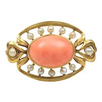 Art Nouveau Natural Coral and Seed Pearl 18K Gold Antique Brooch Pin