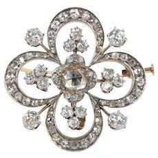 Antique 4 Carat Rose Cut Diamond Silver Gold Clover Brooch Pendant