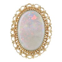 Large Vintage 30 Carat Natural Opal and 14K Gold Pendant Brooch