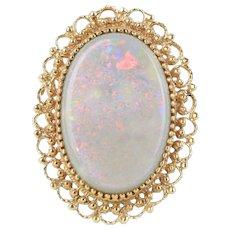 Large Vintage 30 Carat Natural Opal and 14K Gold Pendant Brooch