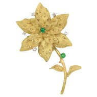 Vintage Natural Emerald and Diamond Star Flower 18K Gold Brooch Pin