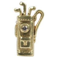 Vintage 14K Gold and Diamond Golf Bag Tie Tack Lapel Pin