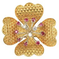 18K Gold Dogwood Flower Basketweave Designed Diamond and Ruby Brooch