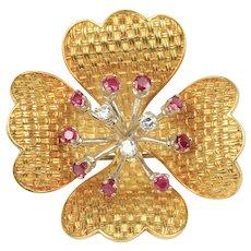 18K Gold Dogwood Flower Basketweave Designed Diamond and Ruby Brooch