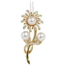 Vintage Daisy Flower 12.5 MM South Sea Pearl and Diamond 18K Gold Brooch Pin
