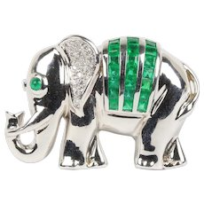 Natural Emerald Diamond and 18K White Gold Elephant Pendant Brooch Pin