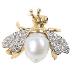 Vintage 1 Carat Diamond Semi-Baroque Pearl 14K Gold Bumble Bee Brooch Pin