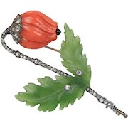 Antique Victorian Carved Coral and Jade Brooch with Diamonds in Silver and Gold