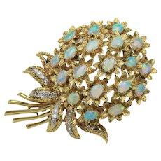 Large 8 Carat Opal and 1 Carat Diamond Bouquet 18K Gold Vintage Italian Statement Brooch
