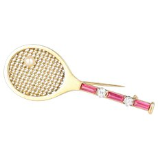 Vintage Tennis Racket Diamond and Synthetic Ruby 18K Heavy Gold Brooch Pin