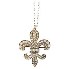 Antique 14K Gold Fleur De Lis Pendant Pin Watch Fob with Seed Pearls