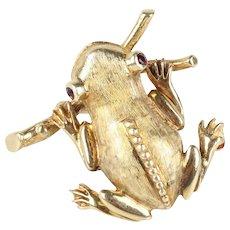 Vintage 14K Yellow Gold Whimsical Frog Pin