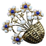 Vintage Opal and Lapis 18K Gold Flower Basket Italian Brooch Pin