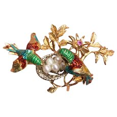 Vintage 18K Gold and Enamel Birds in a Pearl Nest Brooch Pin