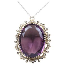 Large 55 Carat Amethyst and Split Seed Pearl 14K Gold Antique Brooch Pendant